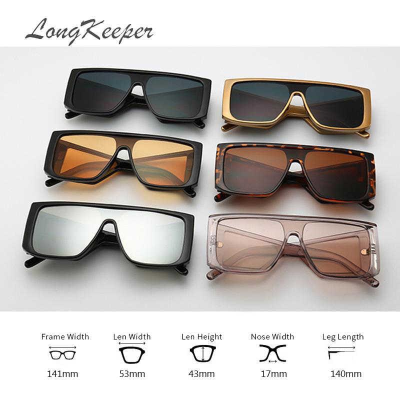 LongKeeper الأصفر نظارات الرؤية الليلية درع النظارات الشمسية الرجال النساء العلامة التجارية مصمم عدسات عاكسة المتضخم مربع نظارات شمسية الرياضة