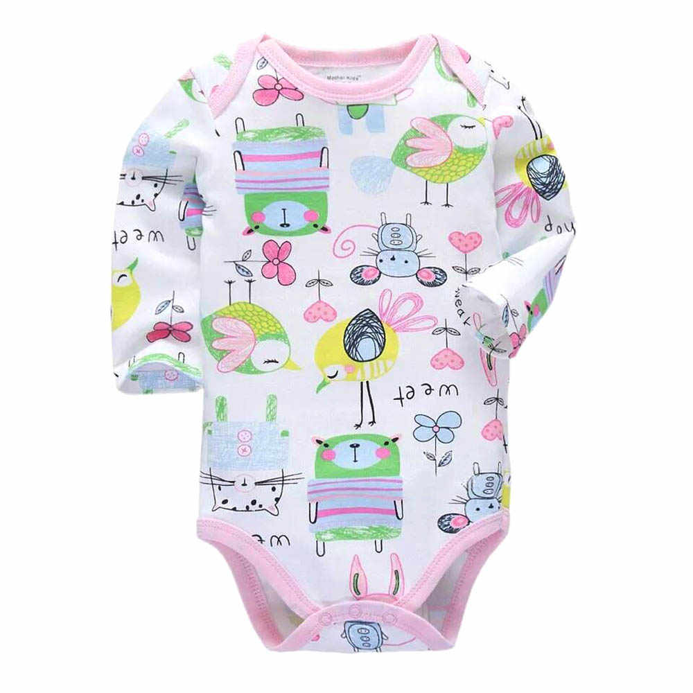 Mono recién nacido bebés niños Niñas Ropa 3-24 meses precioso todo algodón de punto infantil de manga larga Bodysuits