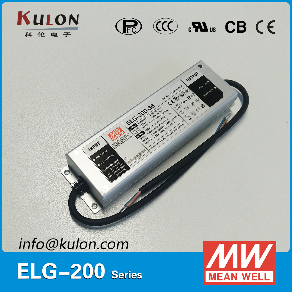Original MEAN WELL Power Supply ELG-200-24A 200W 24V 8.4A  IP65 adjustable waterproof Meanwell LED driver ELG-200 A typeOriginal MEAN WELL Power Supply ELG-200-24A 200W 24V 8.4A  IP65 adjustable waterproof Meanwell LED driver ELG-200 A type
