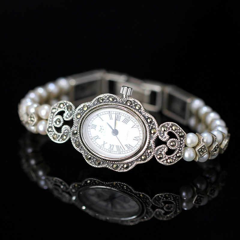 Nouveauté édition limitée S925 montre en argent pur perles naturelles dame Bracelet en argent thaïlandais bijoux fins montre Bracelet en strass