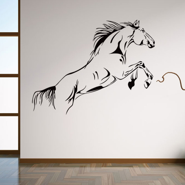 Jump horse whip vinyl large wall decal home decor living room diy art wallpaper removable wall