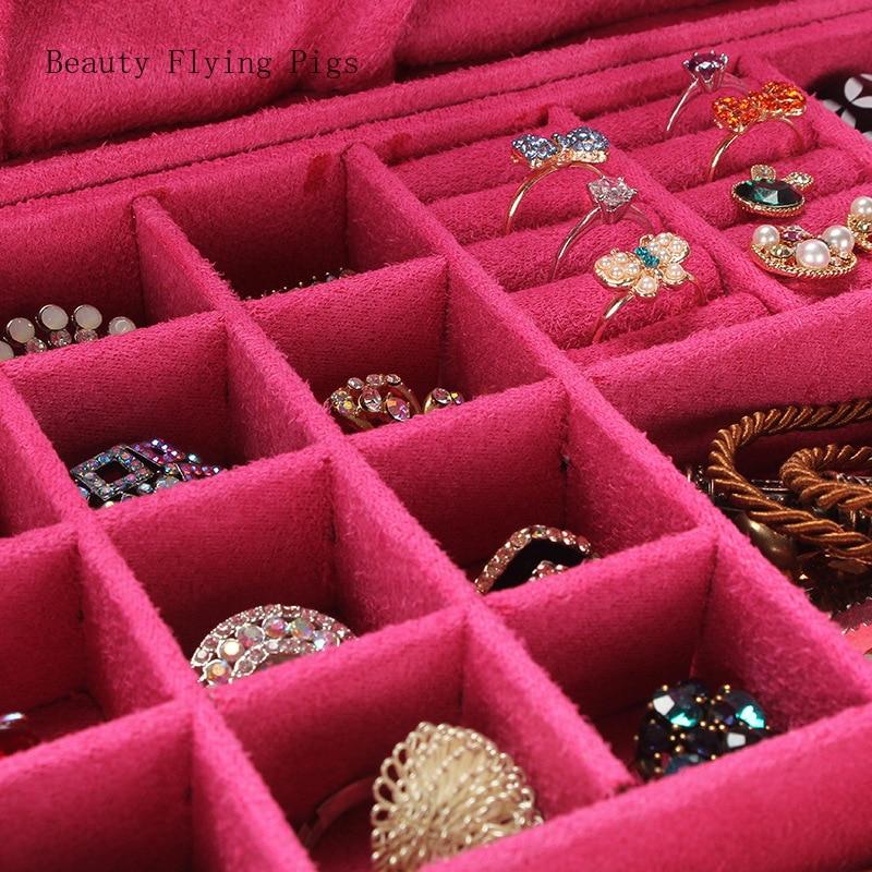 Boîte à bijoux en bois daim double face boîte de rangement de bijoux double face dames boucles d'oreilles anneau cosmétiques boîte de rangement décorations - 3