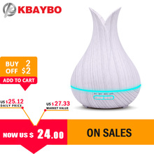 2019 KBAYBO 400ml Ultrasonic Air Humidifier with white Wood Grain electric Aroma Essential Oil Diffuser Cool Mist maker for home