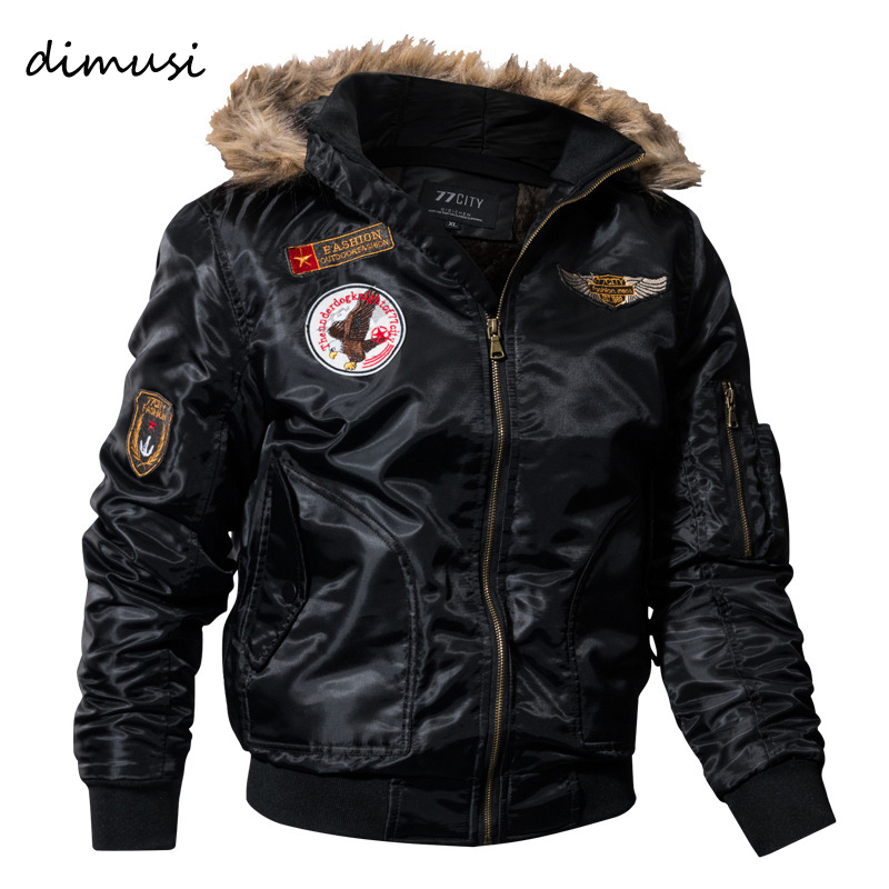 DIMUSI Paddad Men Winter Bomber Jacket Thick Thermal Down Cotton Parkas Male Casual Hoodies Faux Fur Collar Warm Coats 4XL,TA035