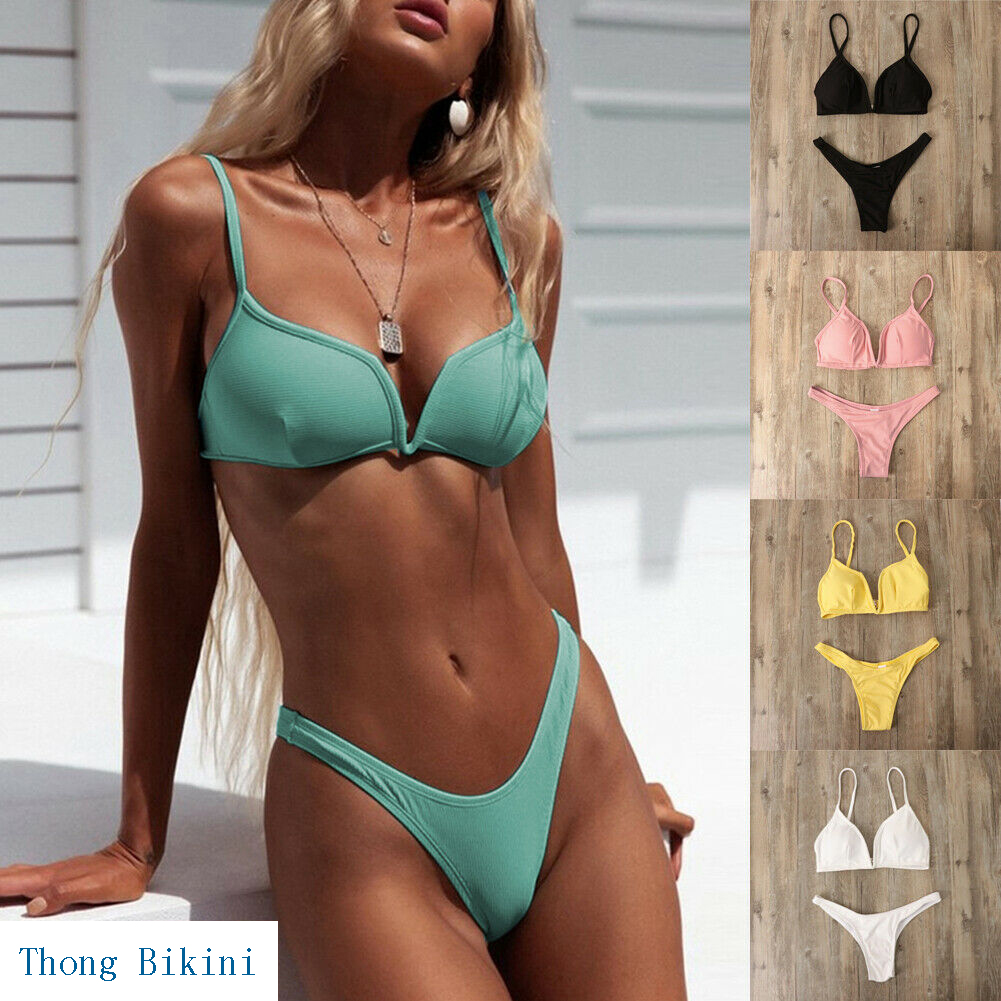 Hirigin Sexy Thong Bikini Mulheres Swimwear 2019 Novo Maiô Praia Mulheres Maiô Push Up Acolchoado Biquini Das Mulheres Nadar Terno hot