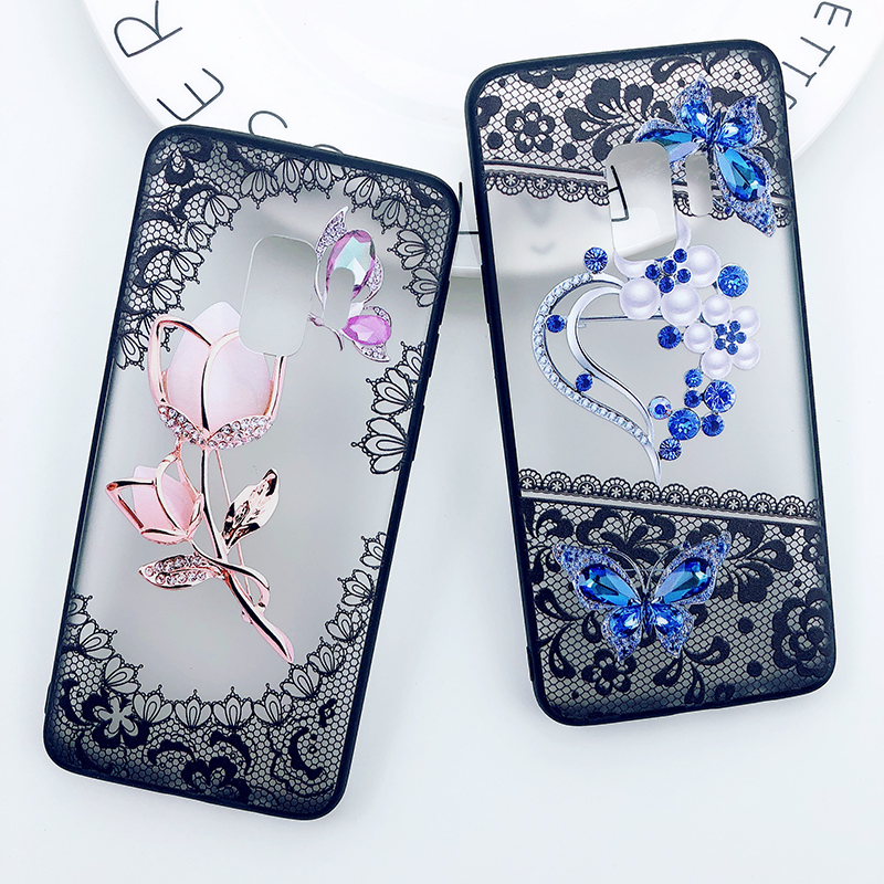 3D Diamond Phone <font><b>Case</b></font> For Samsung Galaxy A6 2018 A8 <font><b>S8</b></font> S9 Plus S7 Edge J3 J5 J7 2017 Note 9 <font><b>Sexy</b></font> Lace Flower Clear PC Back Cover image