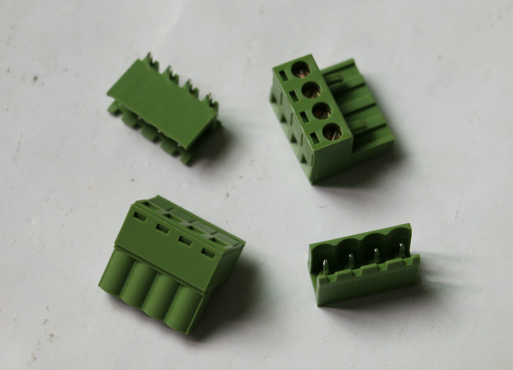 20set KF2EDG Push-pull Terminal Block Wire plug Connector Pitch 5.08mm Four / 4 Pins 90 Degree Screw Female + male Green color