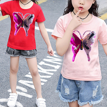 Changing Butterfly Kids Girl T Shirt Summer Cotton Tops Sequin Tees Clothes Children Clothing T-shirts Short Sleeve Casual Wear цена и фото