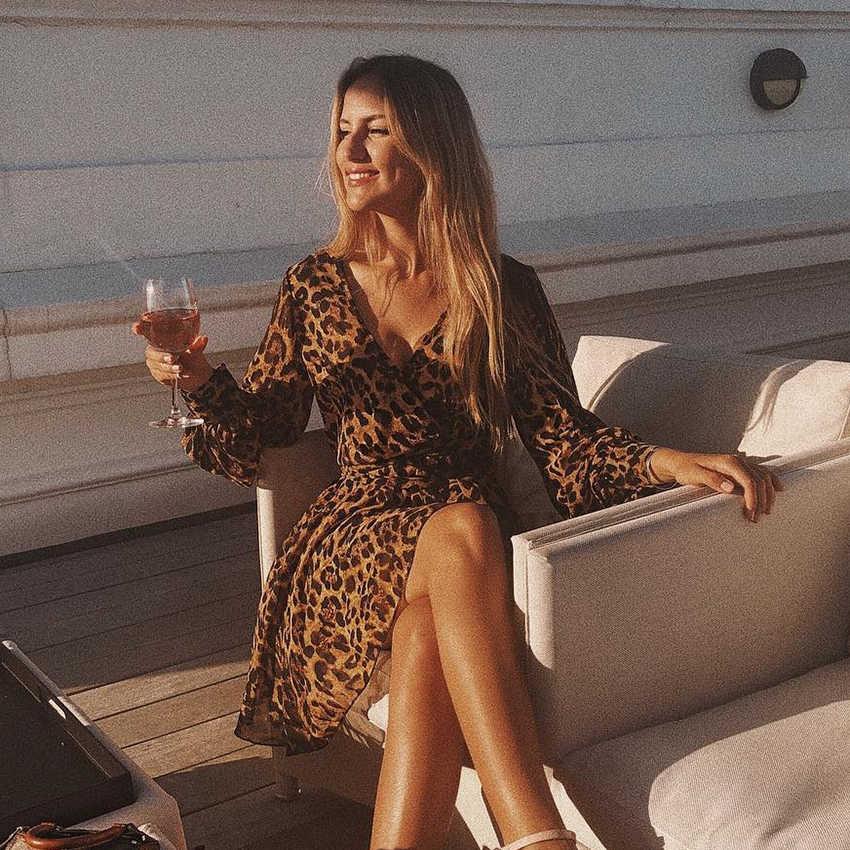 OOTN Élégant Léopard Floral Robe Femmes D'été Tunique Imprimer Robe Courte Femelle Mini Robe V Cou Sexy Bureau Manches Longues manches