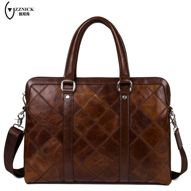 ZZNICK Genuine Leather Bag Fashion Handbags Cowhide Men Crossbody Bags Men's Travel Bag Tote Laptop Briefcases Men Bags zznick 2018 new men s messenger bag men genuine leather business bags laptop tote briefcases crossbody bag shoulder handbags