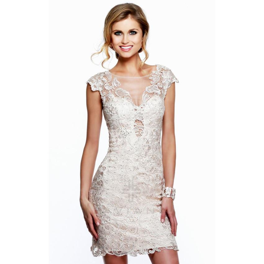 Vestido De Festa Elegant Cap Sleeve Lace Short Prom Dresses 2015