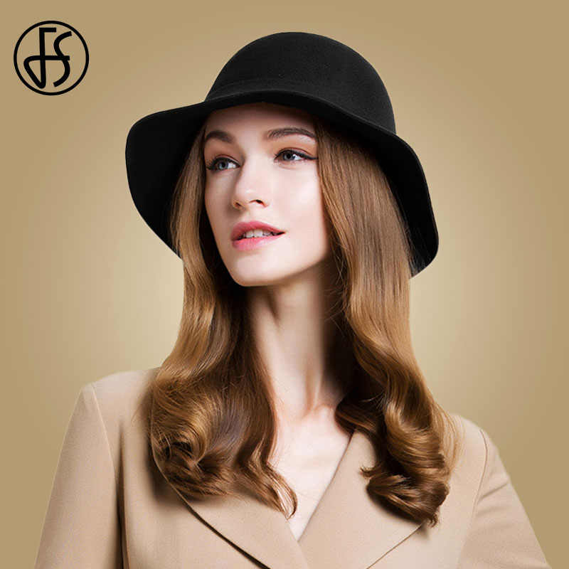 c29f02e40d3 ... FS 100% Wool Women Floppy Felt Hats Vintage Black Fedora For Church Hat  Ladies Autumn ...