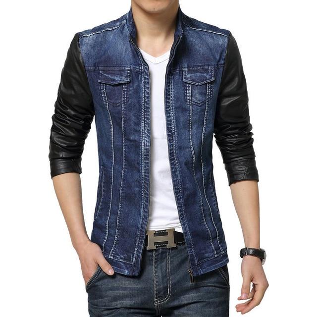 3195ae7fdf9 New spring autumn men spliced PU leather sleeves casual jacket Fashion  washing denim jacket men Slim men s coats F1254