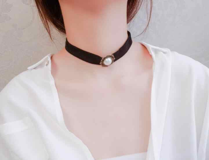 Collar Necklace For Woman Girl Fashion Jewelry Lace Velvet Trend Summer Gift Simple Black Sequins Pearl Pendant Lucky Clover