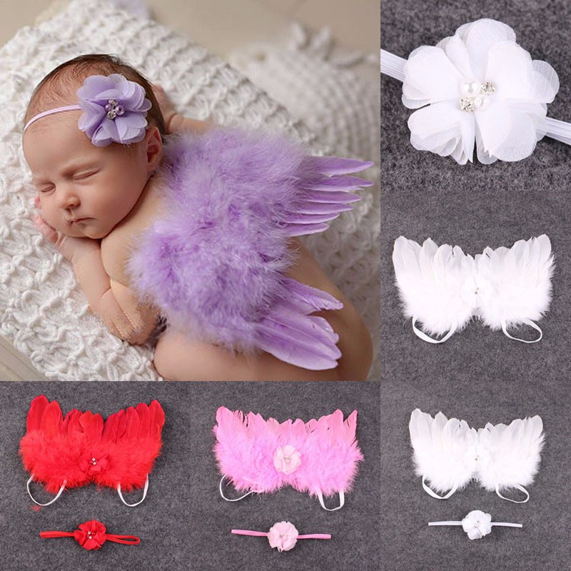Для новорожденных Подставки для фотографий дети Studio Костюмы Перо Кружево Банданы для мужчин и крылья ангела для малышей на день рождения на... ...