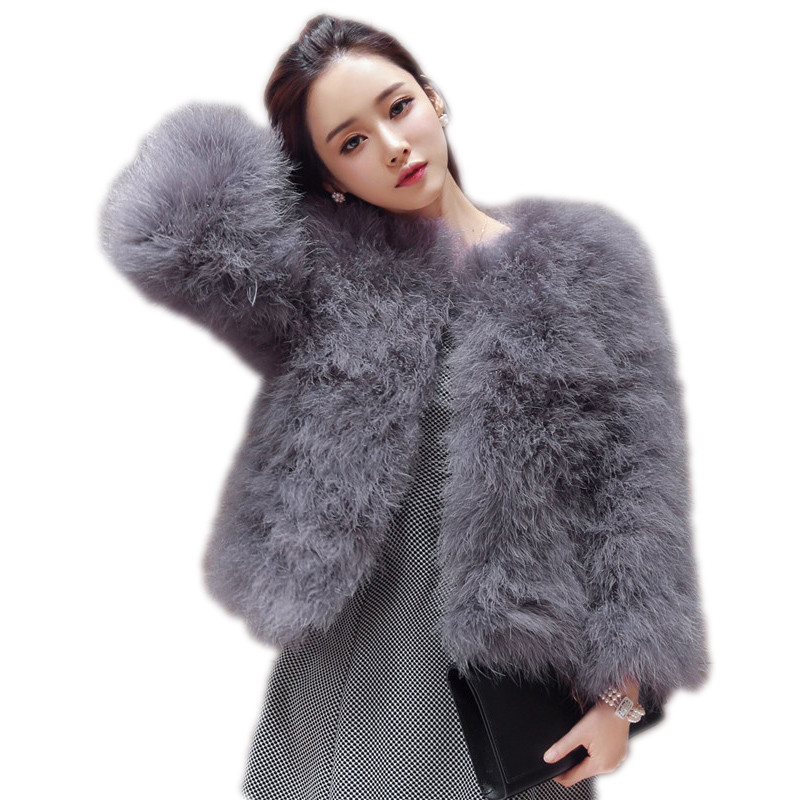 Hot Sale New 2017 Women Autumn Winter Short Slim Coat Thick O-Neck Full Sleeve Solid Sexy Ostrich Feather Faux Fur Coats SF026