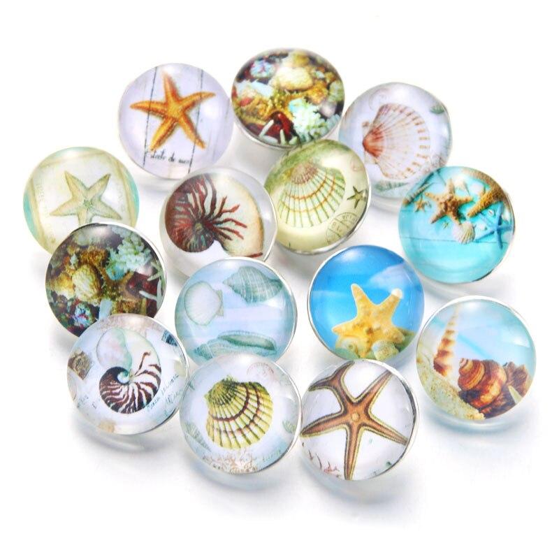 10 шт./лот, смешанные цвета и узор, 18 мм, стеклянные кнопки, ювелирное изделие, граненое стекло, оснастка, подходят, оснастки, серьги, браслет, ювелирное изделие - Окраска металла: 020909