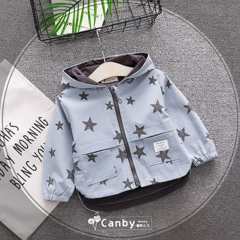 Stars Baby Boys Jacket Hooded Mixing Cotton Coat Baby Toddler Windbreaker Spring Outerwear Autumn Little Kids Clothing Lined