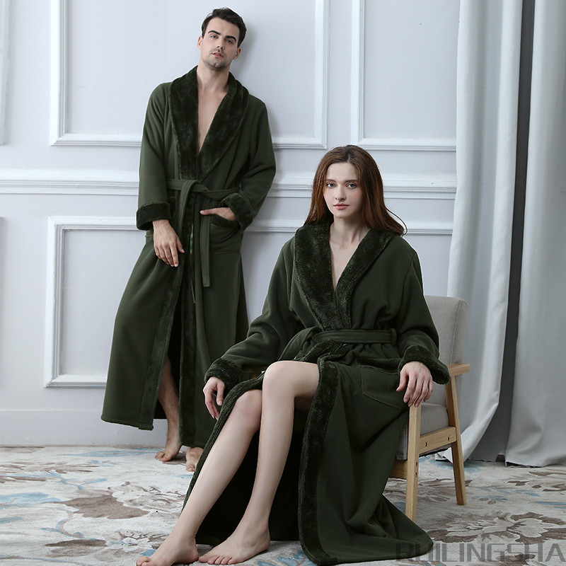 Hot Lovers Double Layer Thickening Extra Long Winter Bathrobe Women Men Thermal Fleece Kimono Bath Robe
