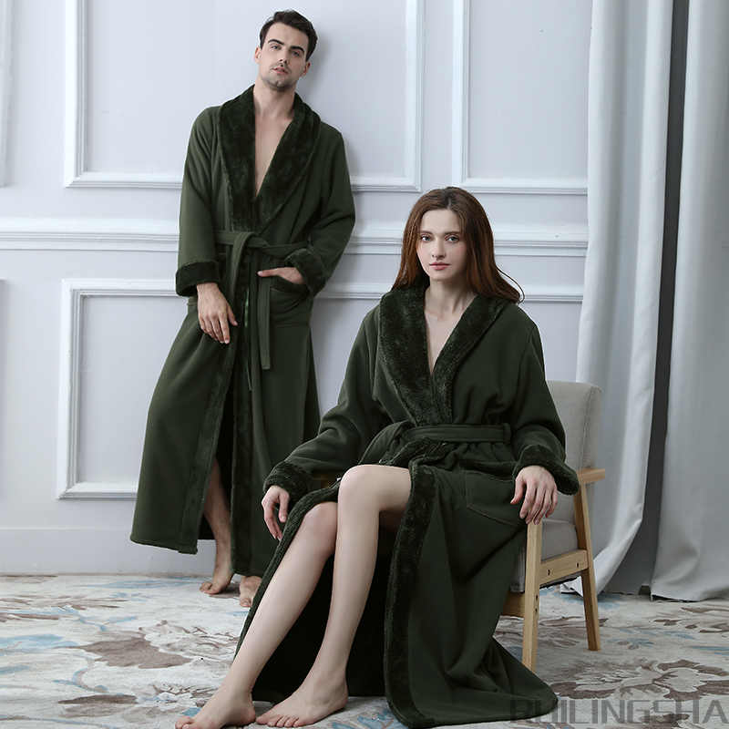 137c555250 Hot Lovers Double Layer Thickening Extra Long Winter Bathrobe Women Men  Thermal Fleece Kimono Bath Robe