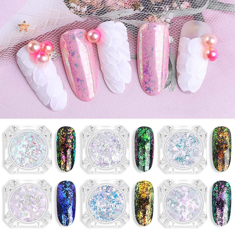 1 Box Nail Brocade Powder Transparent Chameleon Powder Fireworks Color Gold Foil Plating Starry Sky Glitter Mirror Powder in Nail Glitter from Beauty Health