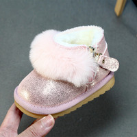 2017 New Winter Snow Boots Baby Girls Soft Bottom Shoes 0 3 Years Old Infant Toddler