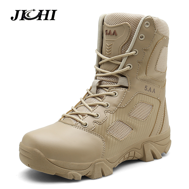 JICHI Big Size 39-47 Desert Tactical Mens Boots Wear-resisting Army Boots Men Fashion Outdoor Hiking Men Combat Ankle Boots 2019