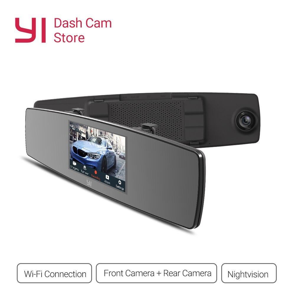 YI Cam Traço da Tela de Toque Frontal Vista Traseira Auto HD DVR Carro Câmera de Vídeo Gravador de Wi-fi G Sensor de Visão Noturna espelho Secretário