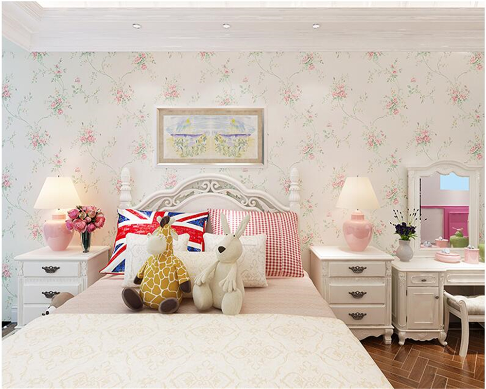 beibehang Warm garden flowers papel de pareder 3d wallpaper pink princess bedroom bedside study non-woven wall paper tapety beibehang girl pink garden flowers 3d wallpaper non woven wall paper children s room princess bedroom bedroom romantic and warm
