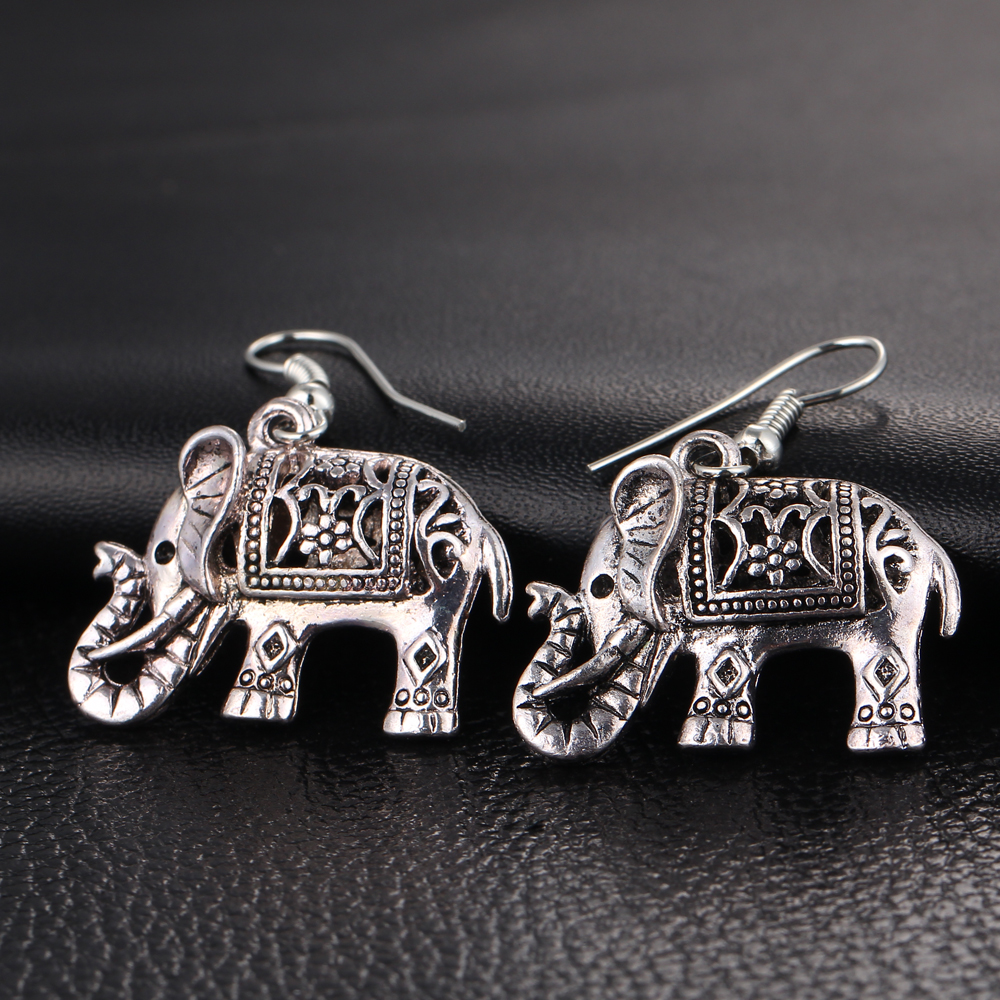 IF YOU Elephant Long Dangle Earring Fashion Jewelry For Women Style Accessories Hot Sell Earrings Tibetan Vintage Silver Color