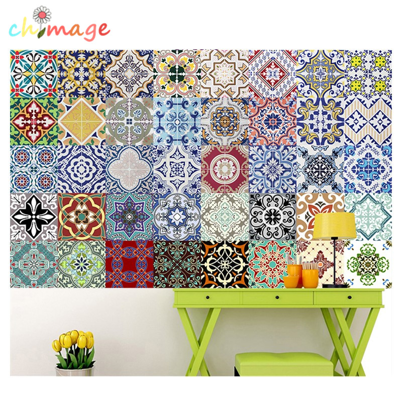 Mediterranean style Self Adhesive Tile Art Wall Decal Sticker DIY Kitchen Bathroom Home Decor Vinyl B