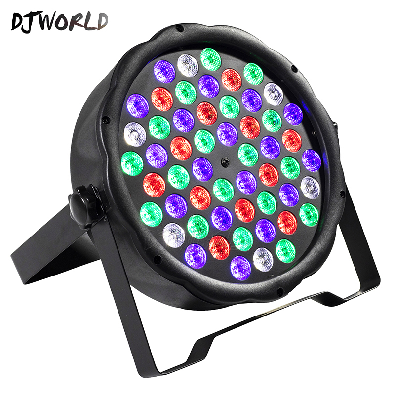 Djworld LED Flat Par 54x3W RGB Color Lighting Strobe DMX For Atmosphere Of Disco DJ Music Party Club Dance Floor Bar Darkening