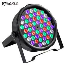 Djworld reflektor LED Flat Par 54x3W kolor RGB oświetlenie stroboskopowe DMX dla atmosfera Disco muzyka DJ do klubu na imprezę parkiet taneczny Bar ciemnienie przyłbica spawalnicza
