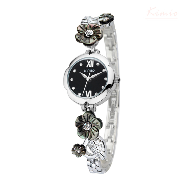 Kimio Марка Shell Цветочный Кристалл Bacelet Наручные Часы Роскошные Платья Женские Кварцевые Часы Движение Япония