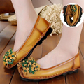 Handmade Genuine Leather Women Flats Floral Fashion Women Loafers Spring Autumn Soft Bottom Ballet Flats Comfortable Women Shoes