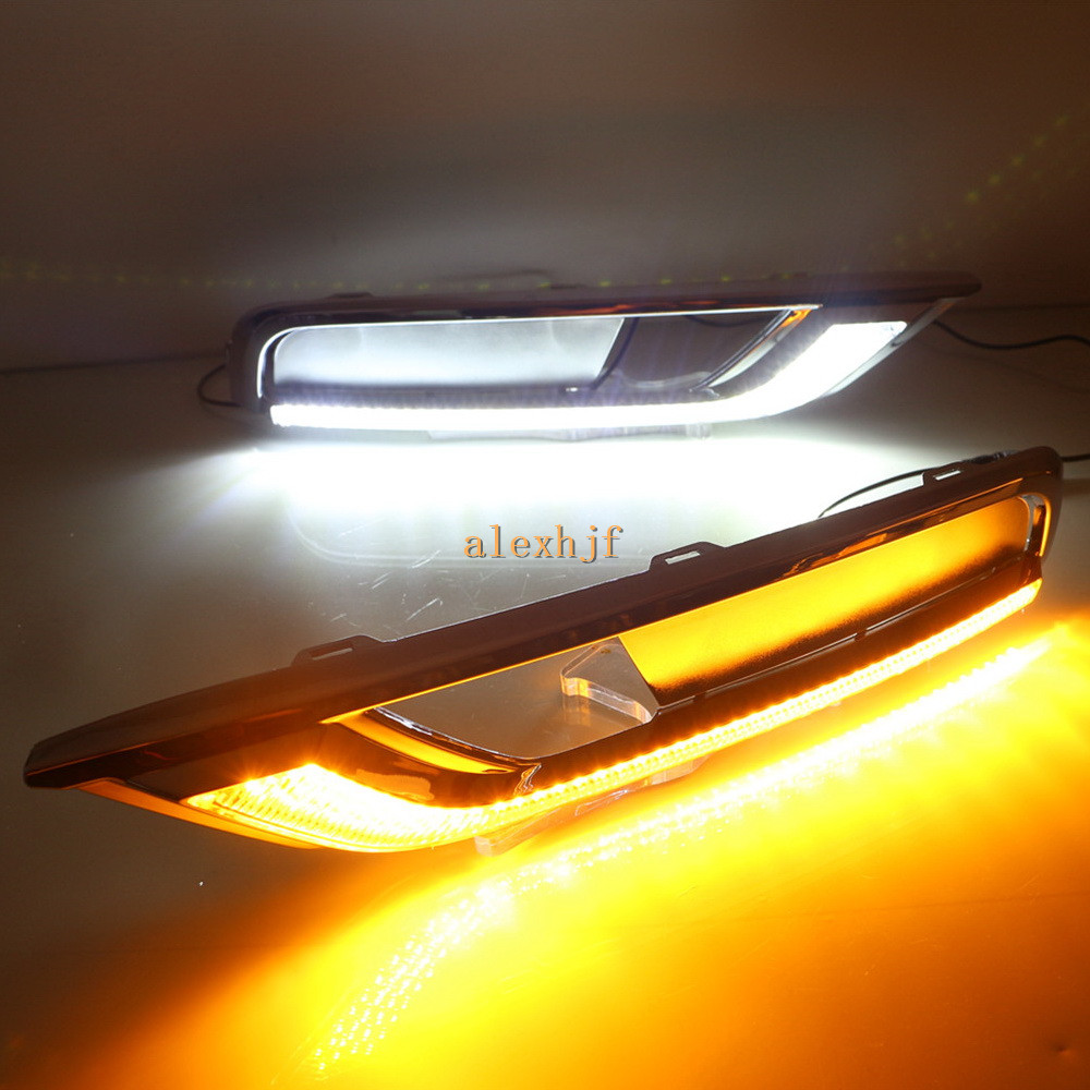 July King LED Daytime Running Lights DRL With Yellow Turn Signal Light Case For Honda CRV CR-V 2015~2016, 1:1 Replacement july king led daytime running lights drl case for honda crv cr v 2015 2016 led front bumper drl 1 1 replacement