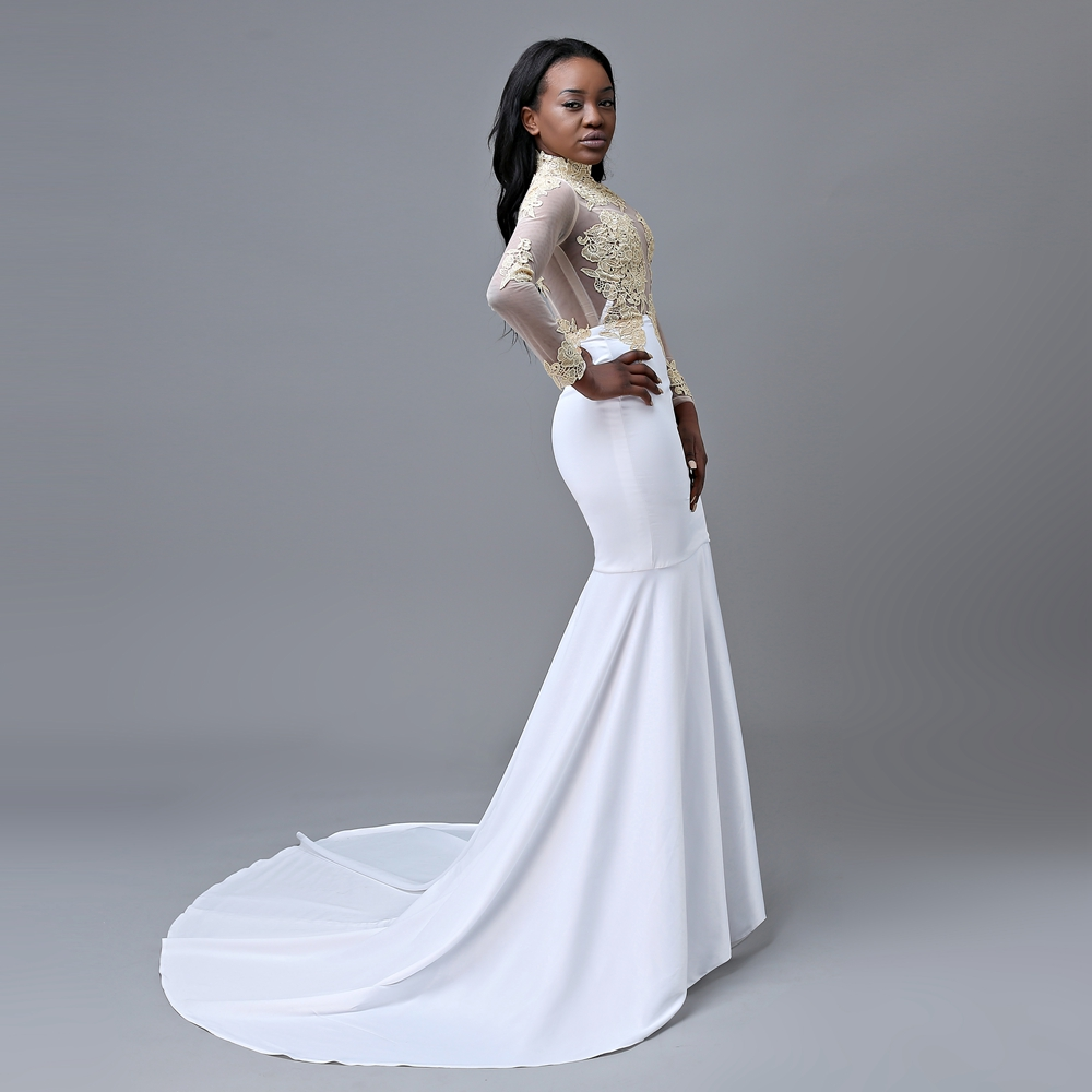 e8a0697dfdd Aliexpress.com   Buy Elegant Mermaid High Neck Long Sleeve Gold Lace Floor  Length African Long White Prom Dresses 2018 from Reliable long white prom  dress ...