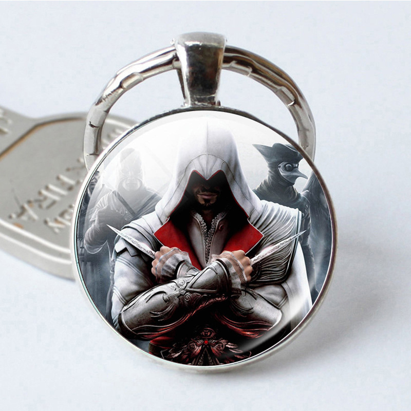 Fashion Assassins Creed Key Chains Time Gem Glass Pendant Key Ring Game Related Simple Jewelry Cute Gifts Wholesale image