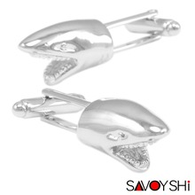 Novelty Shark Modeling Cufflinks for Mens Shirt Cuff Accessories High Quality Animal Cuff links Fashion SAVOYSHI Brand Jewelry
