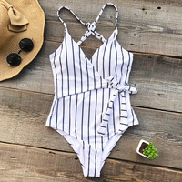 Cupshe Stay Young Stripe One Piece Swimsuit Deep V Neck Summer Sexy Backless Bikini Set Ladies
