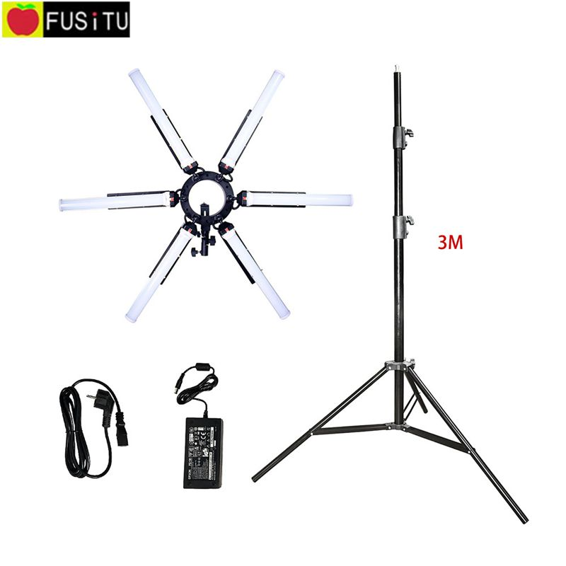 Fusitu TL-900S Camera Photo Ring Light Video 6 Tubes Eyes Photography Dimmable Makeup Video Ring Lamp with 3M tripod stand softorbits softskin photo makeup домашний фотомакияж цифровая версия