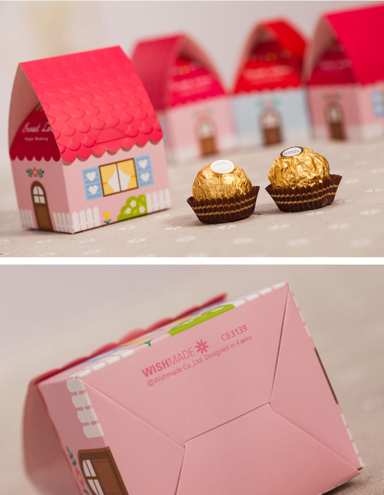 Kawaii House Shape Wedding Favor Box Pink Blue Wedding Candy Boxes ...