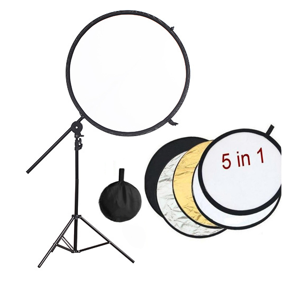 Pro Photography Studio Kits 84cm 5in1 Collapsible Studio Lighting Reflector Disc+ Backdrop Arm Grip Holder + 200cm Light Stand photography light control panels system fabrics 5 in 1 lighting photo reflector 70 100cm 28 40inch
