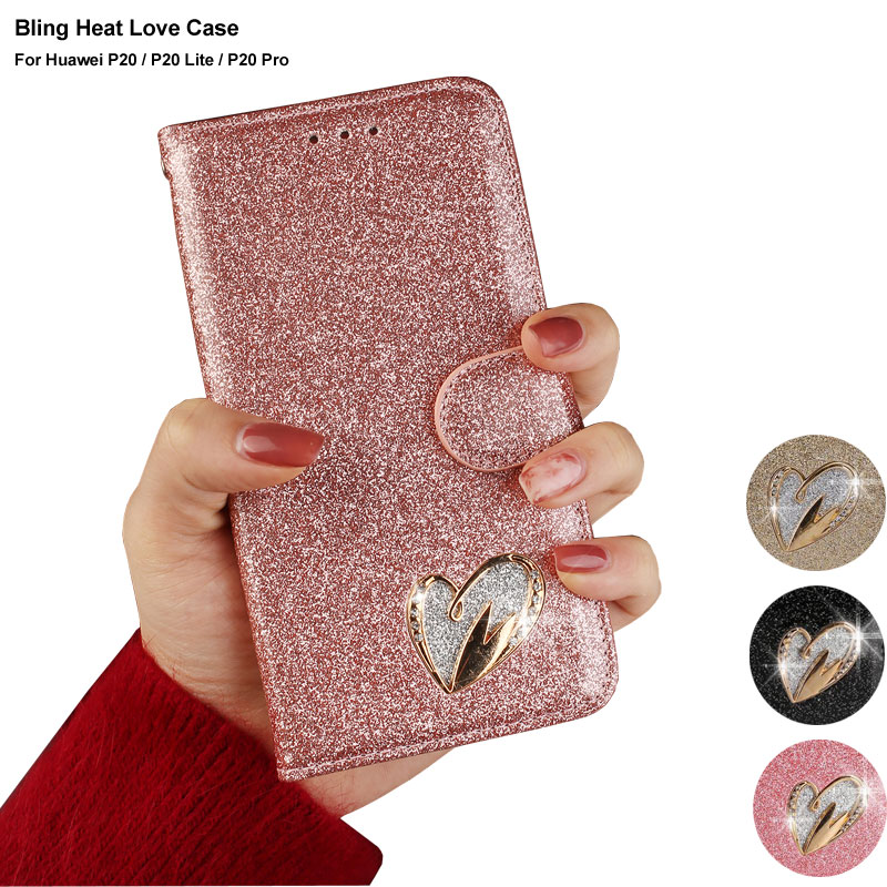 free shipping 95ced 34752 Glitter Flip Case For Huawei P20 Lite Girl Cute Phone Case Huawei P20 Pro  Cover Pink Gold Wallet Case For Huawei P20 Lite Pro