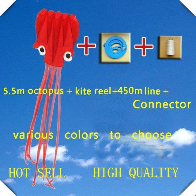 Frete grátis 6 m polvo pipa + 20 cm carretel de pipa + 400 m linha de pipa + conector hot venda fábrica pipa várias cores escolher