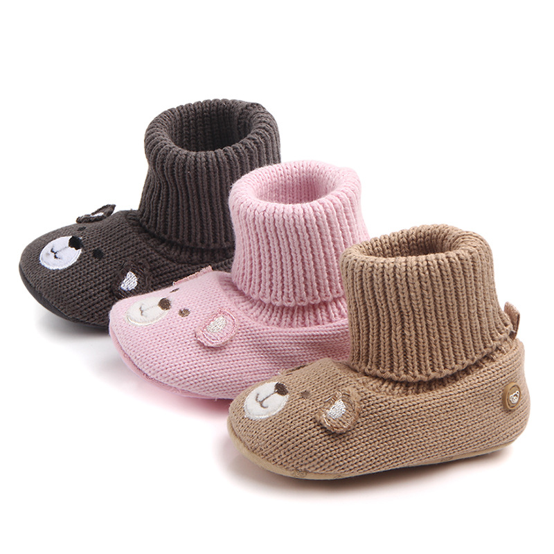 2017 Autumn Winter Handmade Yarn Baby Foot Wears Soft Indoor Worm Infant Booties Baby Indoor Shoes Socks Cute Bear Style
