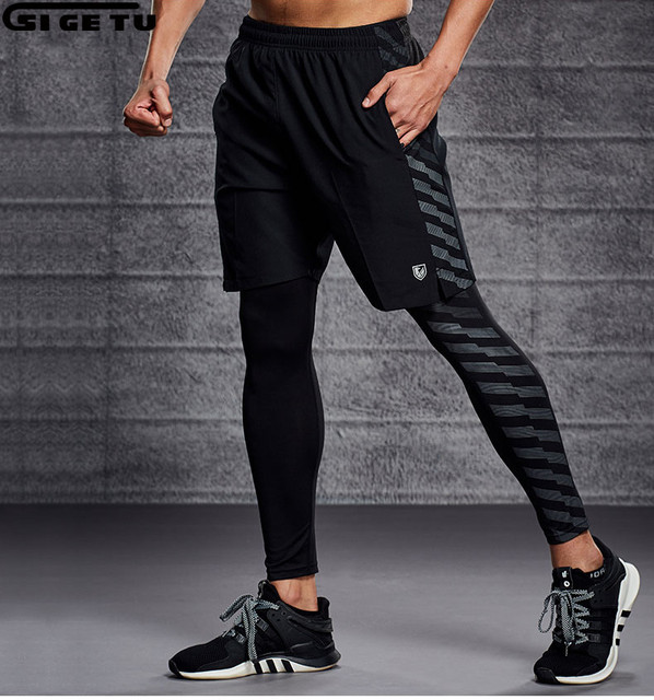 f0fead5eef0f1 2 Pieces Set Mens Running Shorts+Tights Workout Gym Fitness Training Sports  Jogging Shorts Breathable with pockets