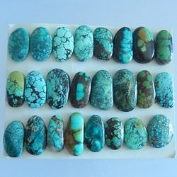 24 STKS Van Natuurlijke Turquoise Cabochons, 50.12g (24x13x6/17x13x4mm)