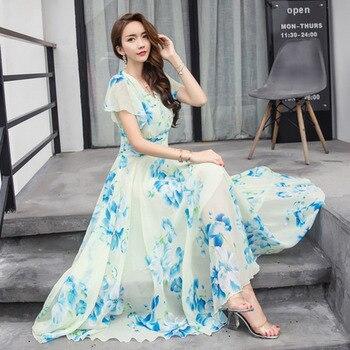 Летние макси платья женские 2019 короткий рукав белый красный Froral богемный Boho пляжное шифоновое длинное платье плюс размеры 4XL 5XL Vestidos