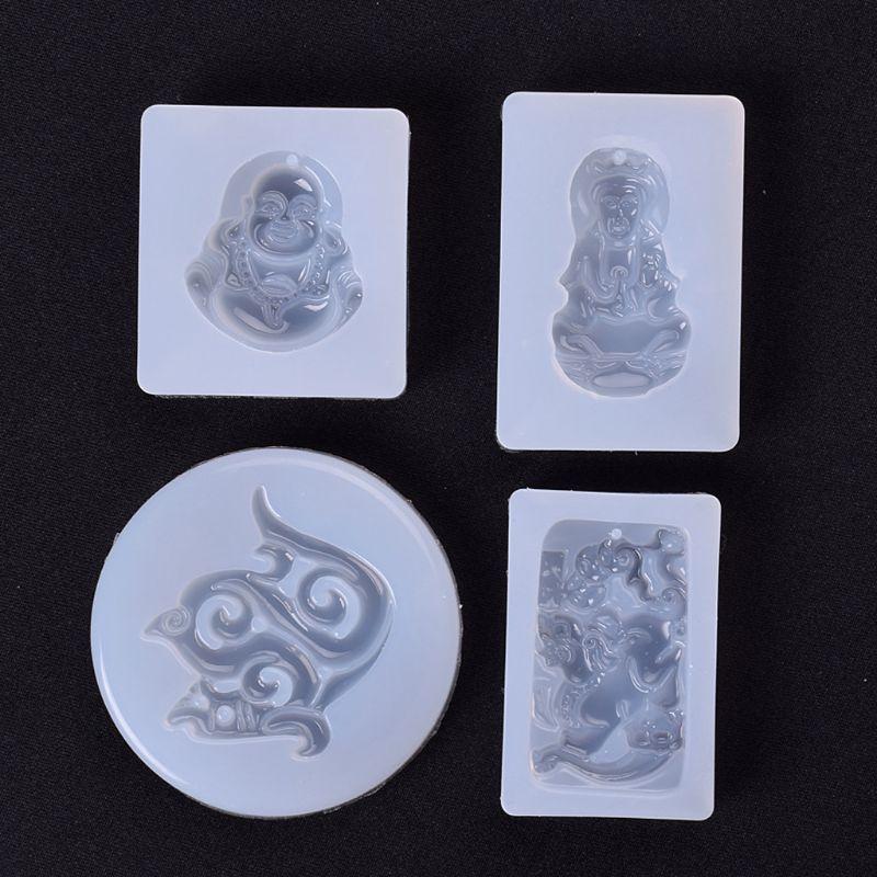 5Pcs Buddhism Jade Pendant Silicone Mold Kit Epoxy Resin Jewelry DIY Making Tools